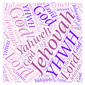 Graphic of the names Jehovah, Yaweh, Lord, God, YHWH